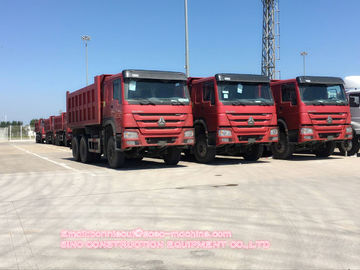 Euro 2 Red Industrial Dump Truck 6x4 Tipper Truck With Overturning Body Platform
